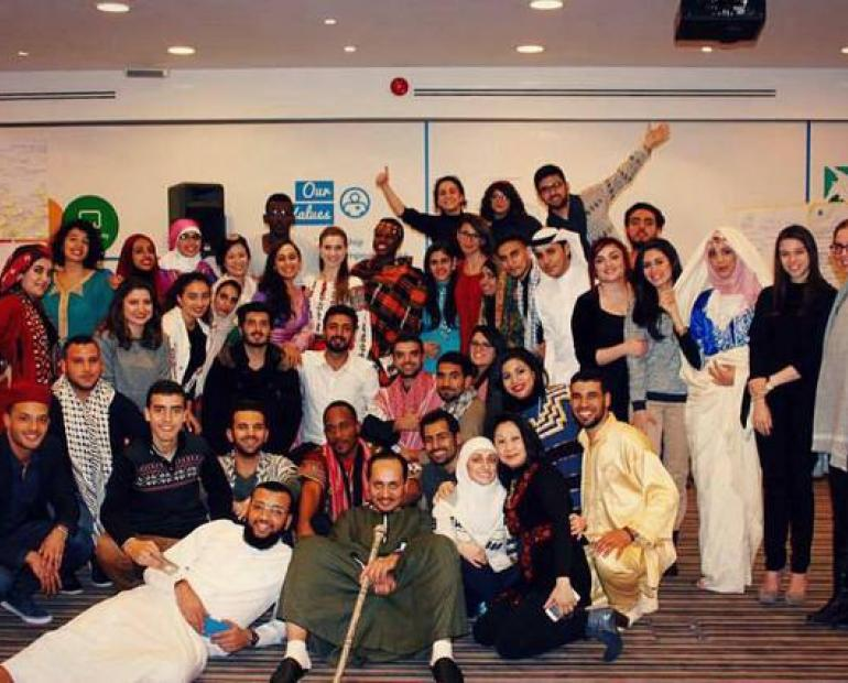 the 41 Youth advocates representing their countries and traditions during the intercultural night in Jordan.