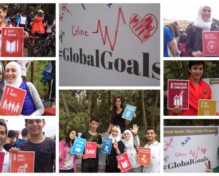 Syrian youth standing for the SDGs