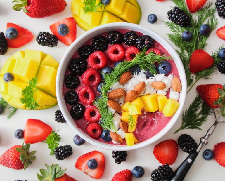 A smoothie bowl with fruit.