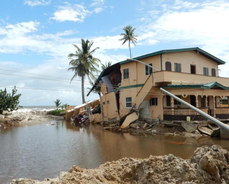 Coastal flooding in Trinidad