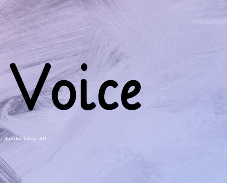 "Purple Background with Black Text reading ""My Voice"""