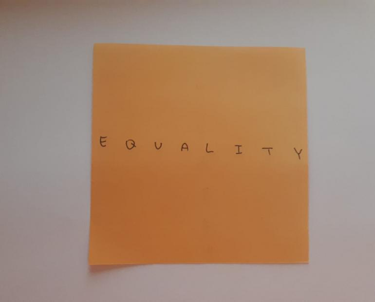 a page with the word 'equality' written on it