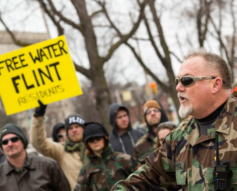 People protesting poor water quality in Flint, Michigan