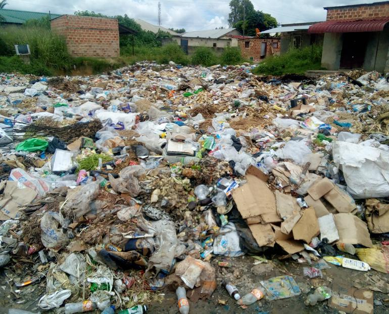 Image showing plastics bags dumped in an open area