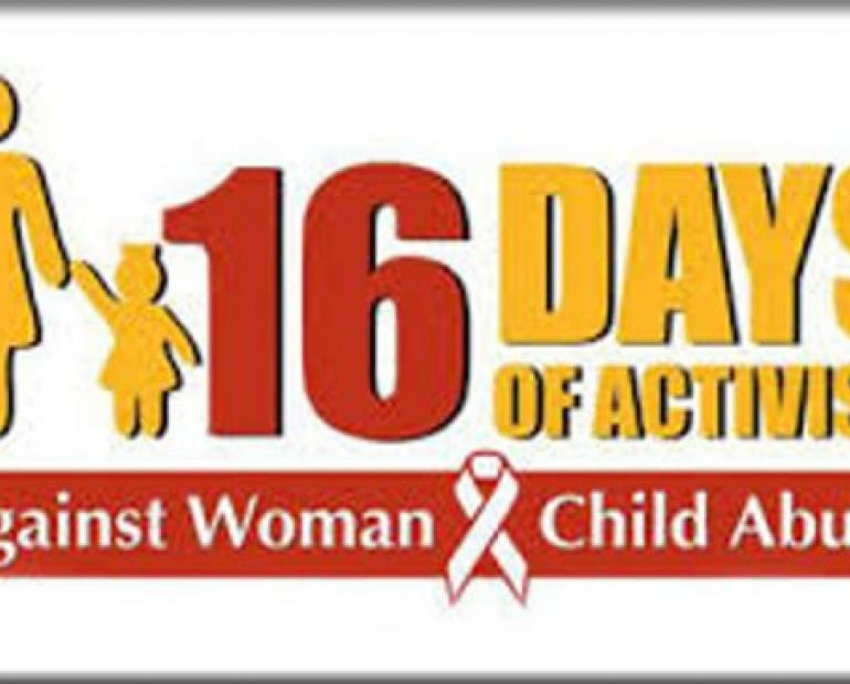 A banner of the 16 days of activism campaign