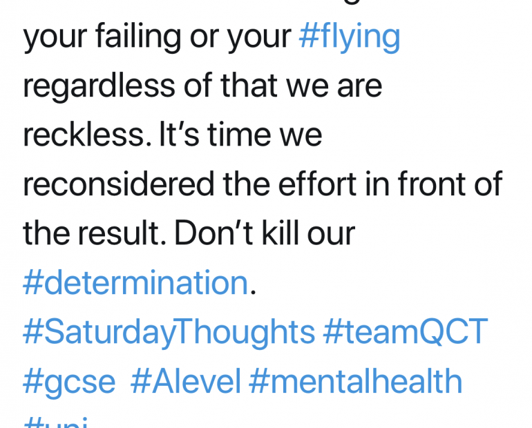 We get told your failing or your flying but regardless of that we are reckless.