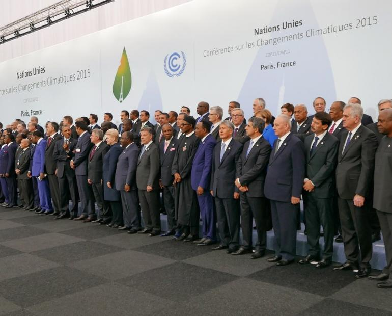 A group photo of world leaders  in 2015 United Nations Climate Change conference which ended with Paris Agreement