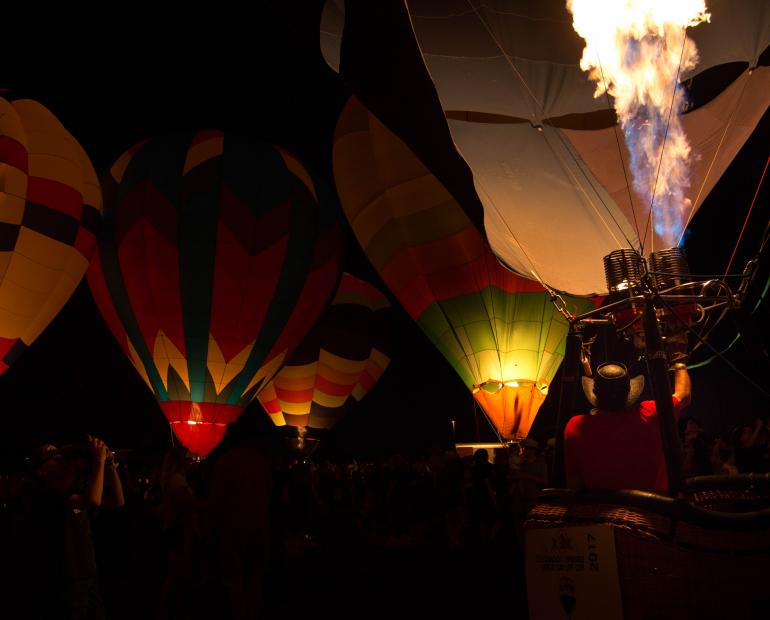 The hot-air balloon is ready to take off into the big bad world