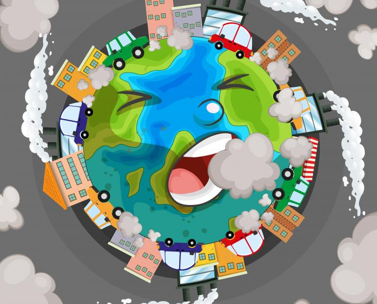 Sick Earth from pollution