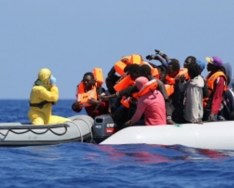 African migrants on their way to Italy