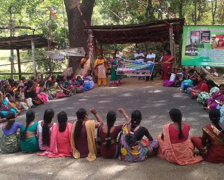 Tribal women in Attapadi protest against the rise of alchoholism