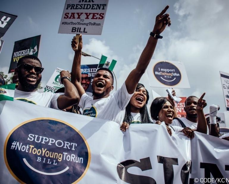 Young people protesting for the signing into law of the 'Not Too Young to Run' Bill in Nigeria