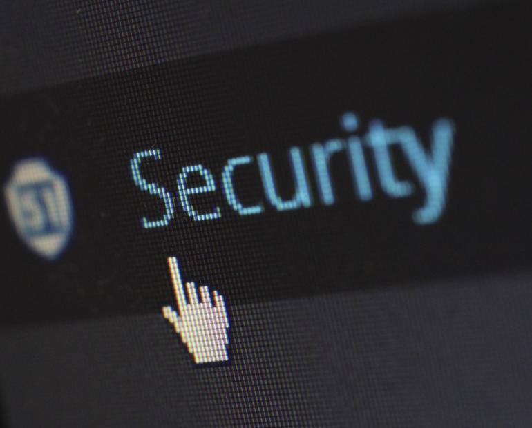 "A close-up of a screen saying ""security"""