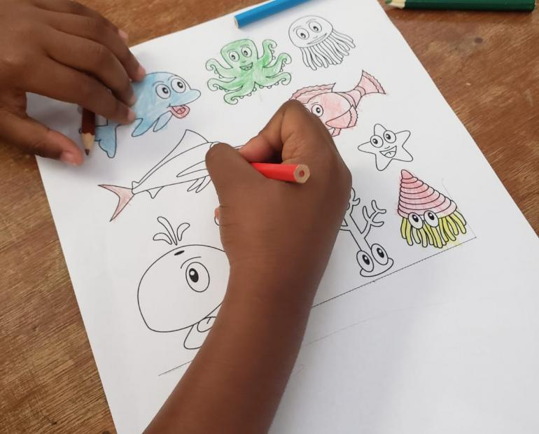 Child coloring sea creatures at Ocean Discovery