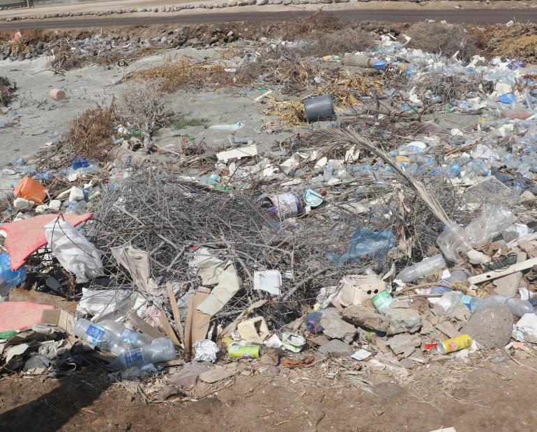 Plastic dumping site close to the sea in Heron,Djibouti