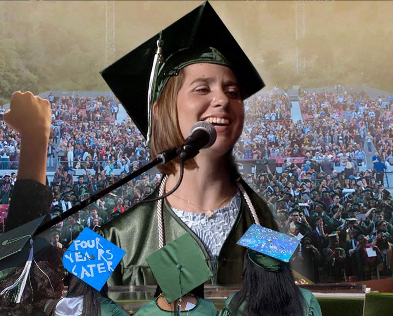Lucy wearing a cap and gown for graduation at a podium laughing.