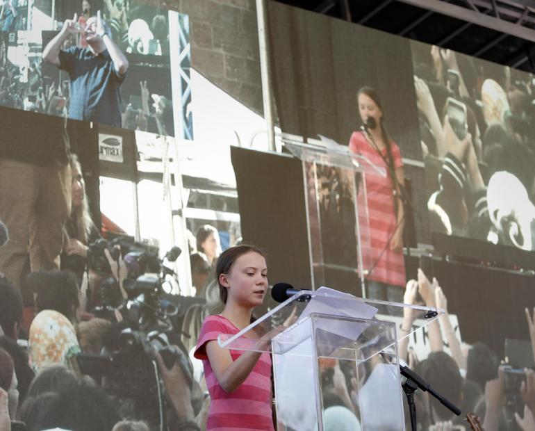 Youth climate activist Greta Thunberg speaks during a demonstration calling for global action to combat climate change.