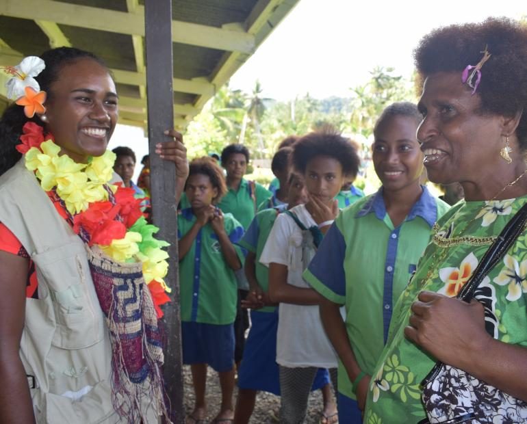 Leoshina Kariha, during one of her visits as Miss Papua New Guinea and Miss Pacific Islands