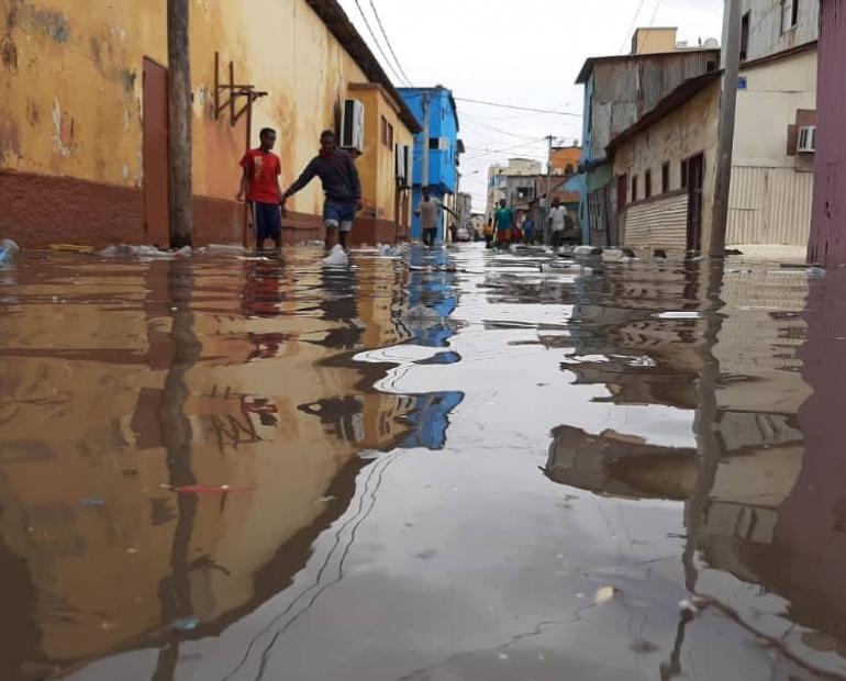 A flooded street in one of Djibouti's residential area.
