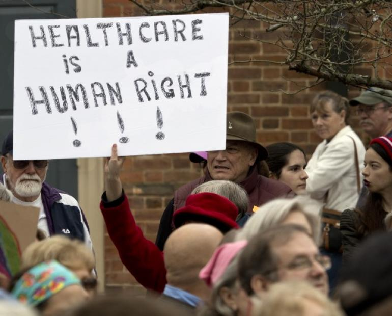"someone holding up a sign that says ""healthcare is a human right"" at a protest"
