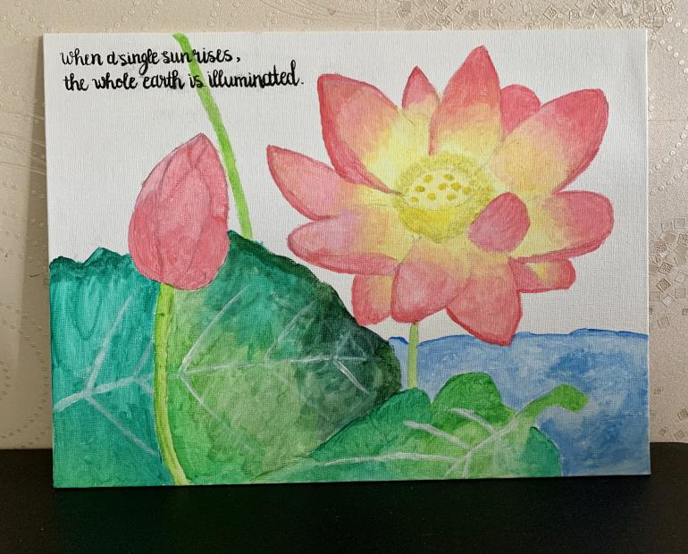Painting of a lotus flower