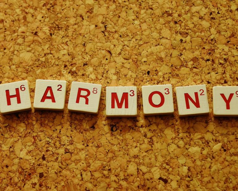 picture of the word harmony on blocks