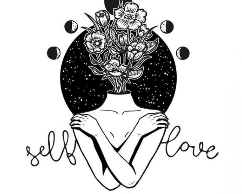 A drawing of a woman holding her shoulders with the words self love.