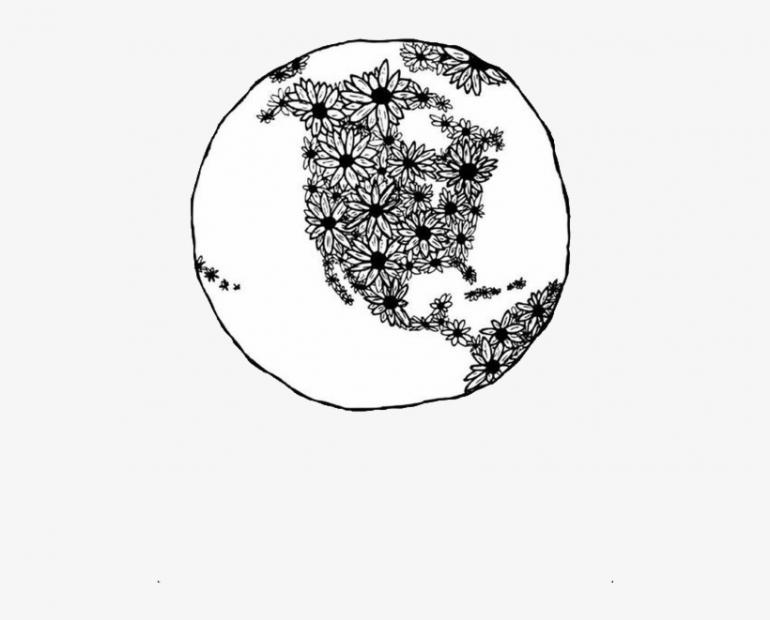 a drawing of the earth in black and white and it is full of flowers