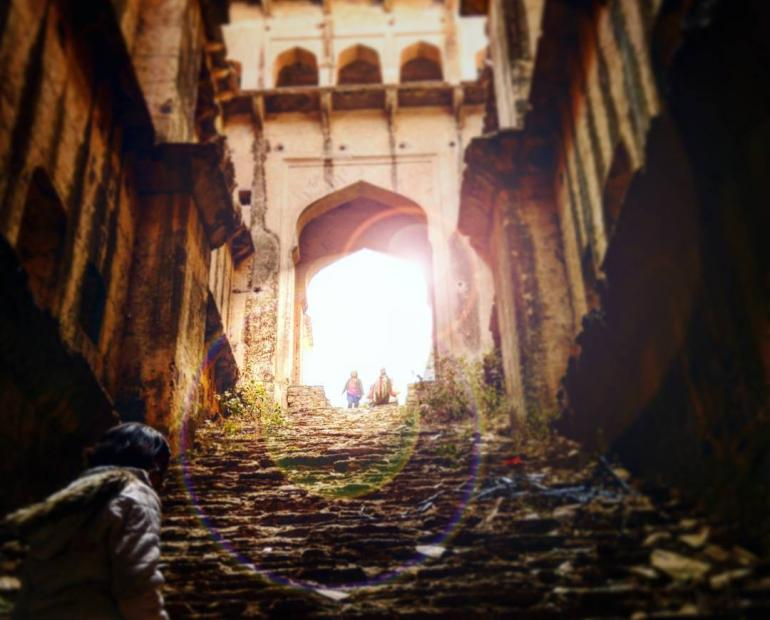Rani Ki Baoli, Rajasthan with the sun streaming through the main entrance giving a deeply meditative interplay of light and dark