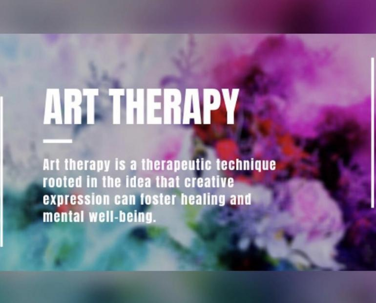 A line about Art Therapy against a colourful background
