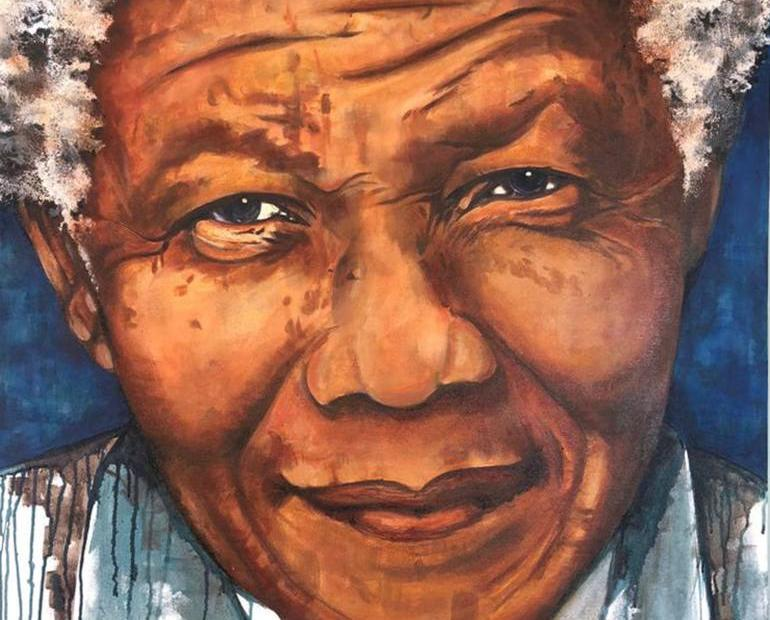 This is a portrait of Nelson Mandela.