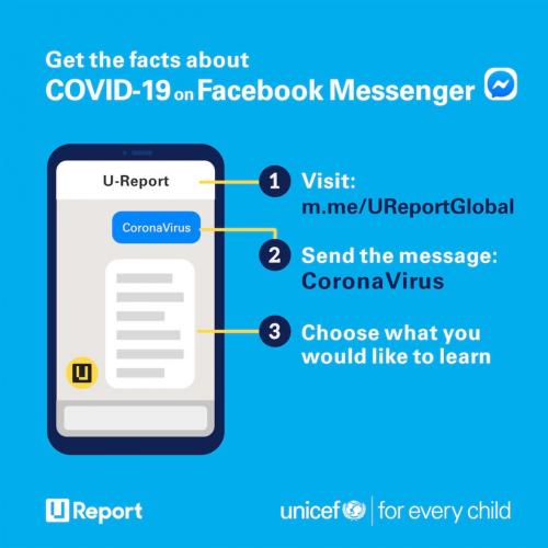 Facebook Messenger info program to get information about COVID-19