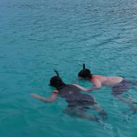 My father and I snorkeling in Seychelles