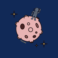 Polaris' Avatar: a tiny astronaut on an asteroid of some sorts, with some stars surrounding it.
