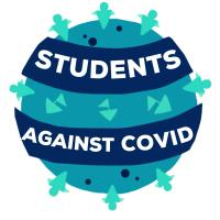 Students Against COVID Logo was created by Ashley John, an undergraduate student from Wayne State University, USA. The group's motto was developed by Christos Tsagkaris, a medical student in Greece. The logo is based off of Greek mythology: when you want to make waves, you need to be willing to rock the boat. This motto served as the premise for the logo creation, which shows boats along with the students and allies around the globe.