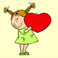Una niña sonriendo con un gran corazón rojo en sus manos