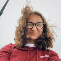 a photo of myself with my hair flying in the wind