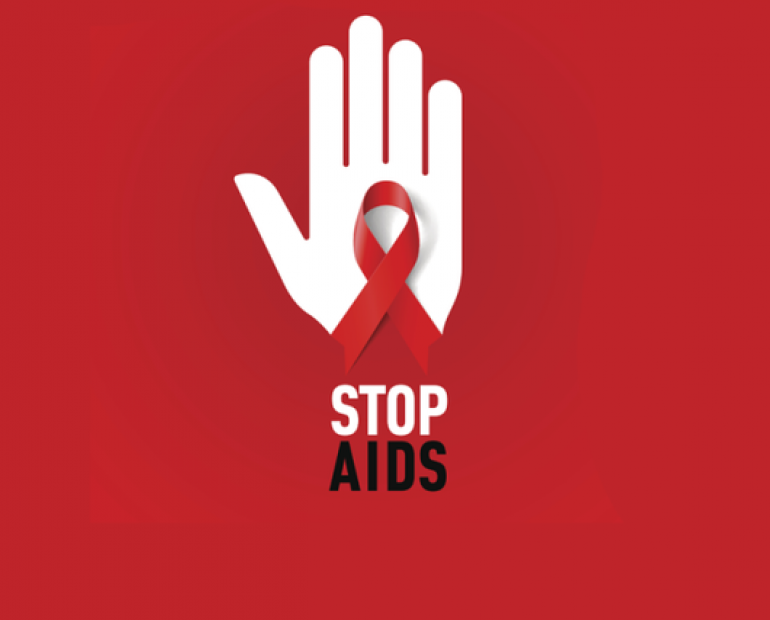 An red ribbon and hand with text Stop AIDS