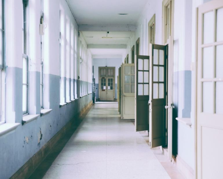 An empty school corridor