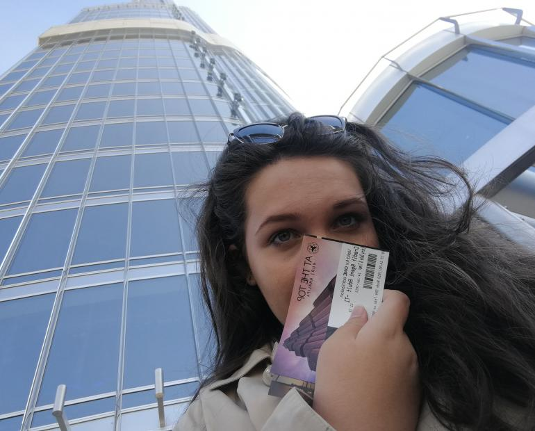Selfie I took at the bottom of the Burj Khalifa (Dubai) in 2017