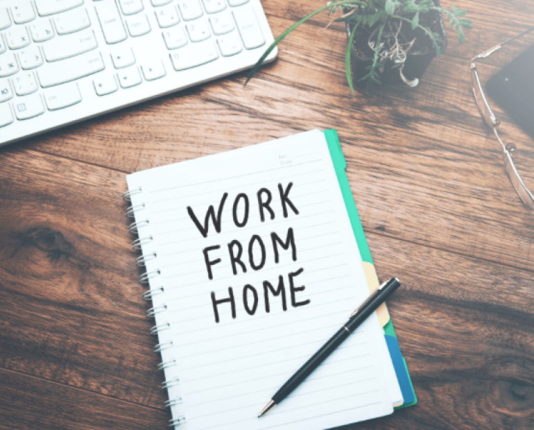 "book that says ""work from home"""