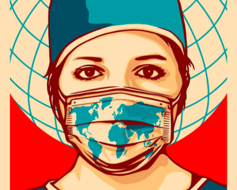 A nurse wearing a mask with the drawing of the world map. Behind her is a globe and the text 'THANK YOU' is written at the bottom of the poster