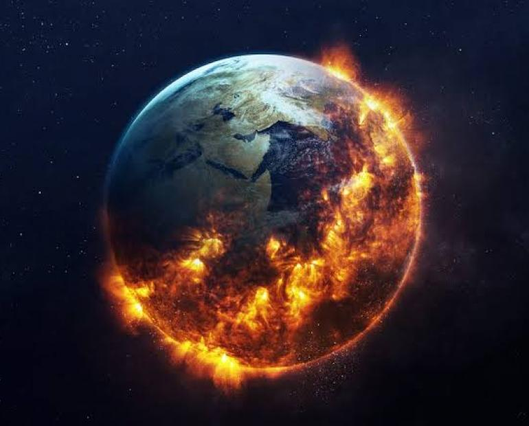 A photo of burning Earth.