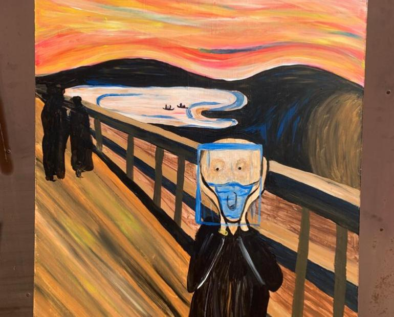 The painting I have painted depicts a twist on a world famous painting, 'The Scream' by Edvard Munch.