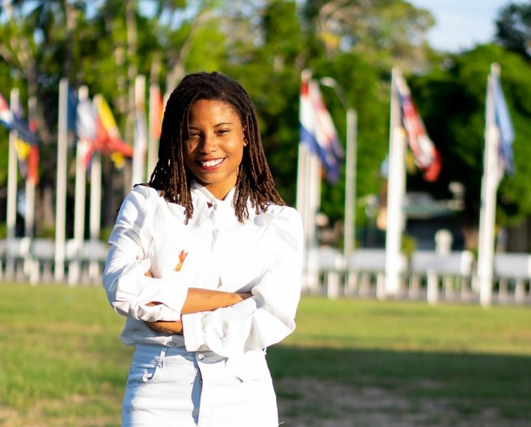 Youth Advocate Fay King at the Independence Square, Paramaribo, Suriname