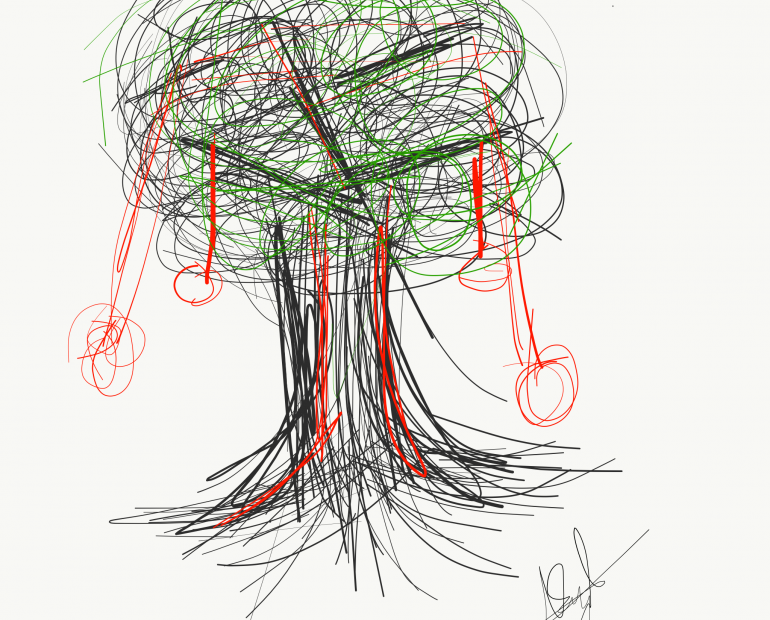 A drawing of a luscious tree, bleeding to death.