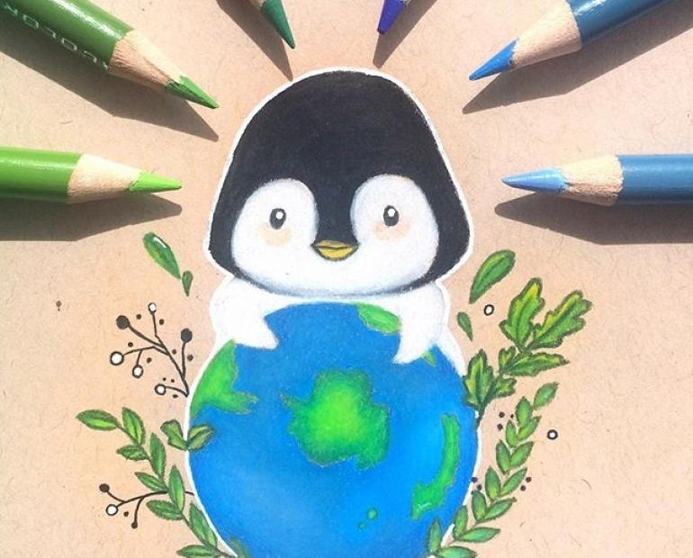 A penguin holding the Earth in its arms lovingly.
