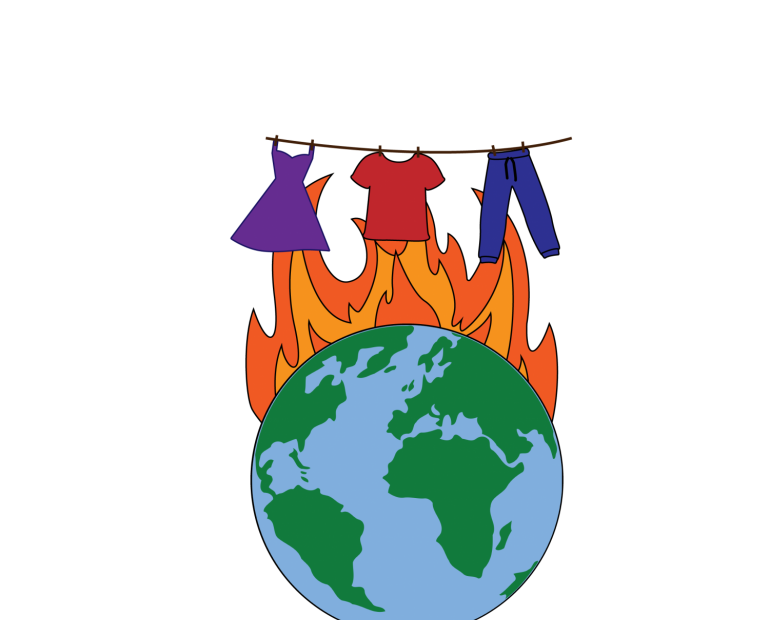 clothes hanging above burning fire