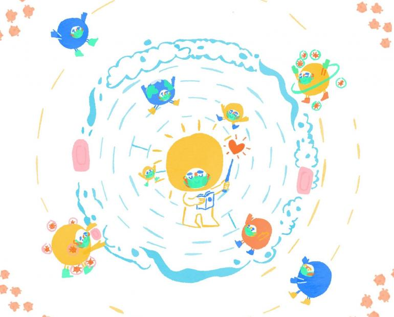 solar system planets wearing masks distance washing hands illustration