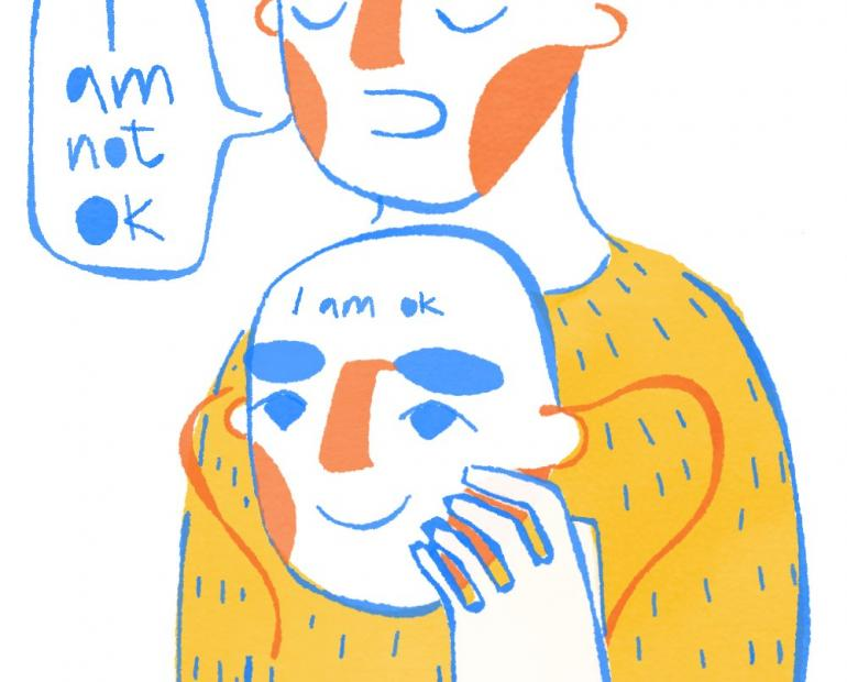 mental health illustration i am not ok